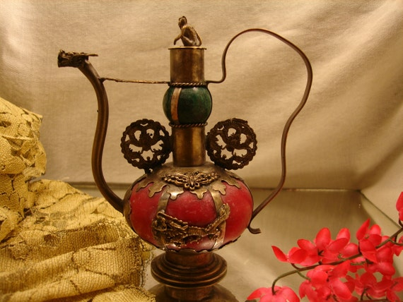 CHINESE BRASS and JADE Teapot, Monkey on Lid, Butterfly and Dragon designs, Oriental, Asian