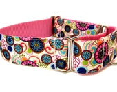 "Ready to Ship! Modern Dog Collar Martingale Collar 1.5"" Modern Flowers"