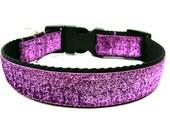 Purple Dog Collar Purple Glitter Dog Collar Matching Bow Available