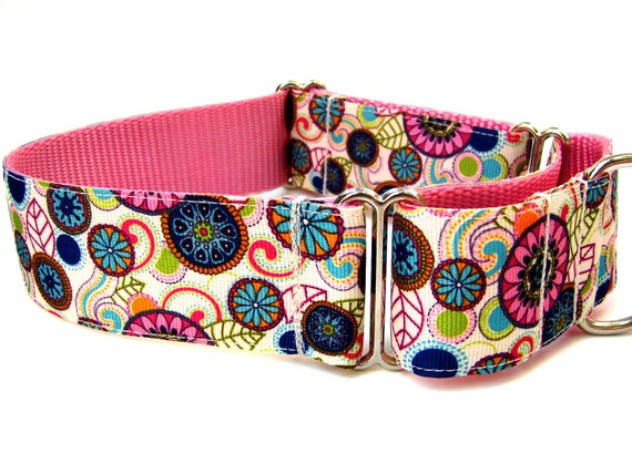 "Ready to Ship! Modern Dog Collar Martingale Collar 1.5"" Modern Flowers"