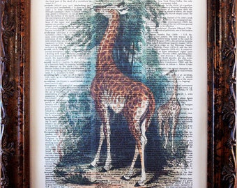 Giraffe Art Print from 1849 on Dictionary Book Page