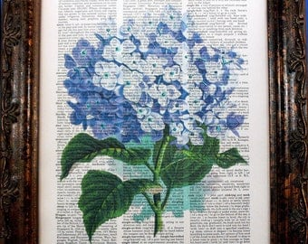 Purple Hydrangea Art Print on Vintage Dictionary Book Page