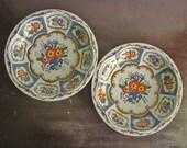 vintage pair of tin Daher-esque bright decorative floral bowls