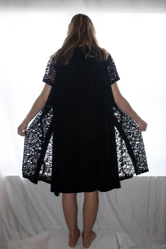 Vintage 60s Lace Dress/ Black/ Large