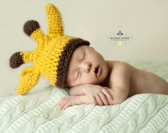 Newborn Boy Giraffe Beanie - Ready to Ship