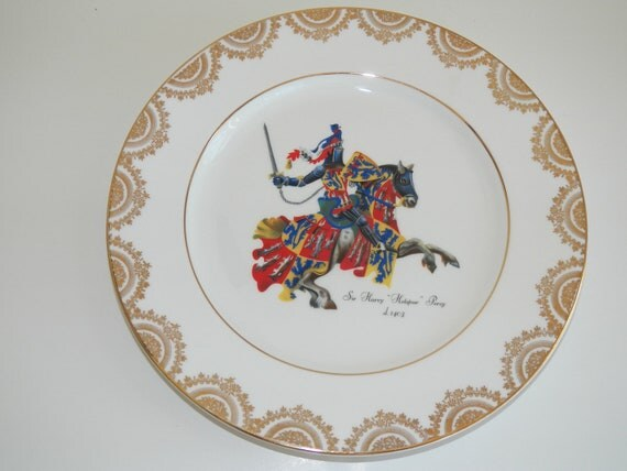 Vintage Wall Hanging Plate Decorative Collectible Made in England Free Shipping British Gold Trim Horse Suit of Armor