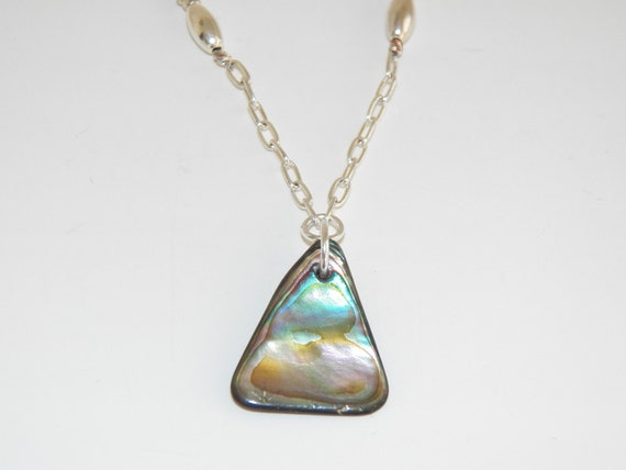 Necklace Handmade Abalone Shell Silver Glass Beads Free Shipping Jewelry made in Montana USA