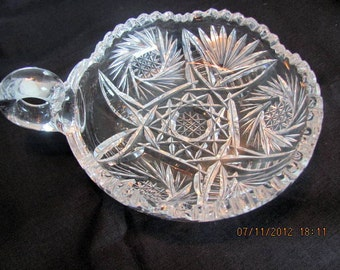 American Brilliant Glass Nappy / Hob Star Cut Glass Nappy / Candy Dish