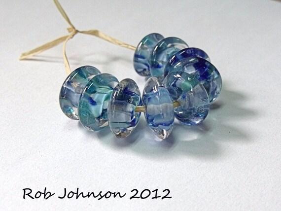 Blue Garden, Lampwork Glass Button Disc  Beads