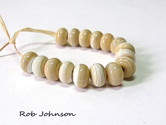 Dry Ivory,  Lampwork Glass Spacer Beads