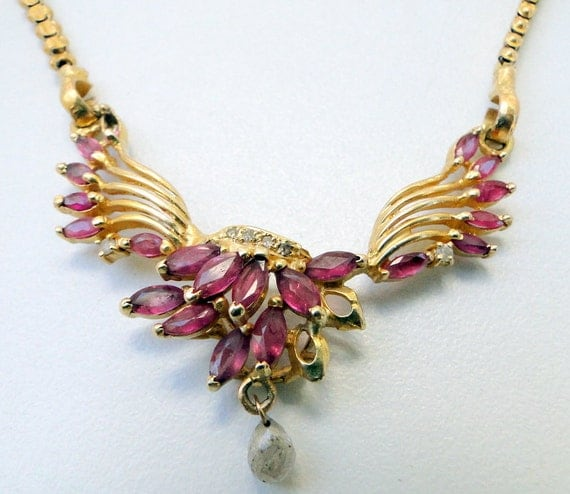 Vintage Solid 22k Gold Ruby Gemstone Necklace Earring: Vintage 22K Solid Gold Chain And Ruby And Diamond By