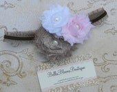 20% OFF Shabby Chic Bloom Double Ruffle Headband- infants, toddlers, girls-taupe, pink, white-custom colors available