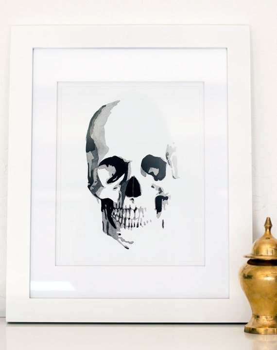 "Skull Watercolor Giclee Fine Art Print Poster of Original Painting 5 x 7"", 8 x 10"", 11 x 14"", 16 x 20"""