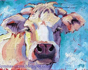 Cow Painting, Cow Art, cow Print, White Cow Giclee Art Print, Red, White & Blue, Christmas Cow,  12 x 16 by Jemmas Gems
