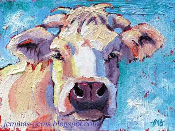 Cow Painting - Patriotic Cow Art - White Cow Giclee Art Print - Red, White & Blue  8  x 10 by Jemmas Gems
