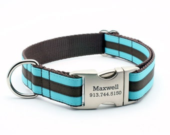 Layered Stripe Laser Engraved Personalized Dog Collar  - Turquoise/Chocolate