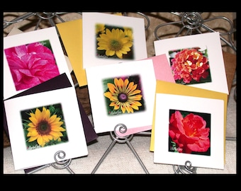 Square Cards, Blank Cards, Greeting Cards, Mini Square Cards, Mini Square Envelopes, Mini Floral Cards, Paper Goods by LindaGeezFlowerPower