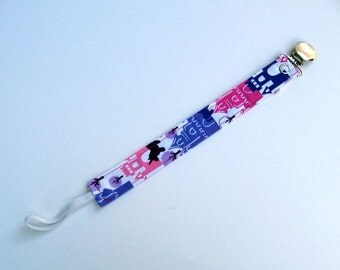 Baby Girl Princess Pacifier Clip / Pink & Purple Paci Clip / Toddler Paci Clip