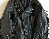 Vintage Women's Black Leather Motorcycle Jacket