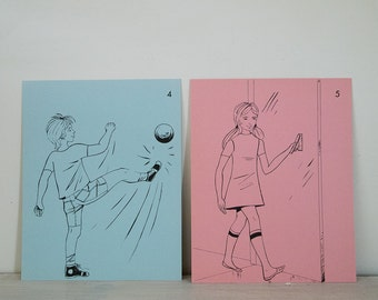 vintage french flash card set of boy playing ball, girl opening door