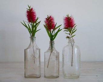 vintage clear bottles/vase collection