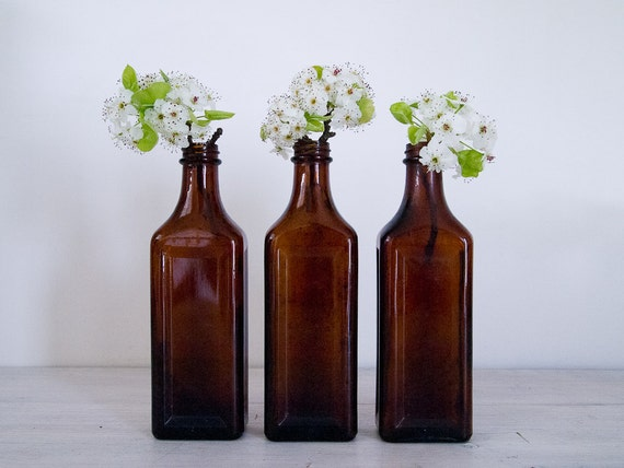 vintage amber apothecary amber glass bottles
