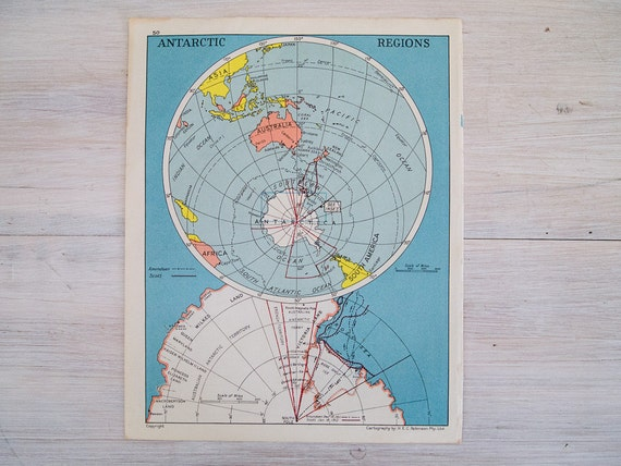 vintage map of the antarctic regions and south america