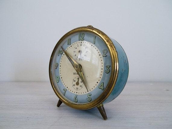 Vintage Teal And Brass Japanese Alarm Clock