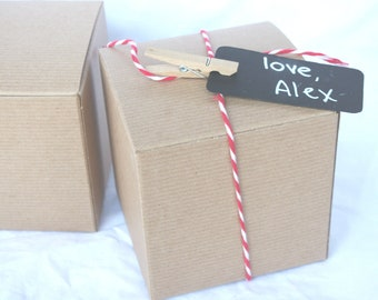 5 BRoWN KRaFT GiFT BoXeS-4x4x4-DIY Crafts,party favors, weddings, shabby chic wedding, gifts-5ct
