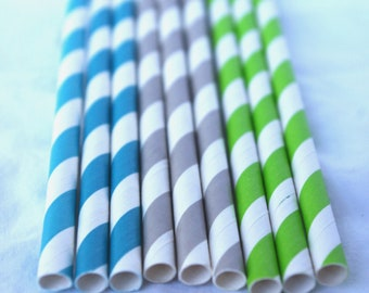 SHaRK MiX -- Striped-Paper Straws--grey, lime green and turquoise-25 ct with Free Printable diy Flags