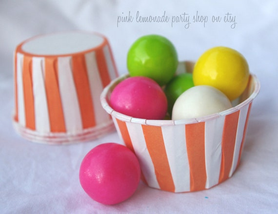 Orange and White Stripe NuT/CANDy/PoRTiON CuPS-Gumballs, Snacks, Nuts, Cupcakes-Birthday Parties-Showers-25ct