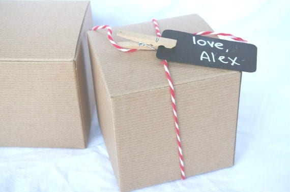 Gold Favor Boxes 4x4x4 : Brown kraft gift boxes x diy crafts party favors