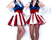 Captain America dress 1940s girl's costume