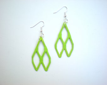 Lime Geometric Earrings / Recycled Metal Jewelry / Neon Green