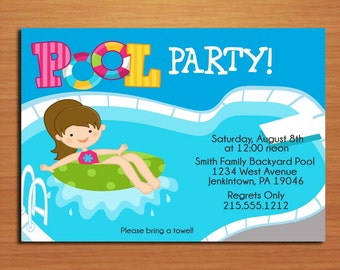 Girl Pool Party Invitation Cards PRINTABLE DIY