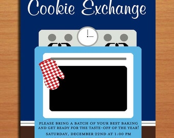 Cookie Exchange / Customized Printable Christmas Party Invitations /  DIY