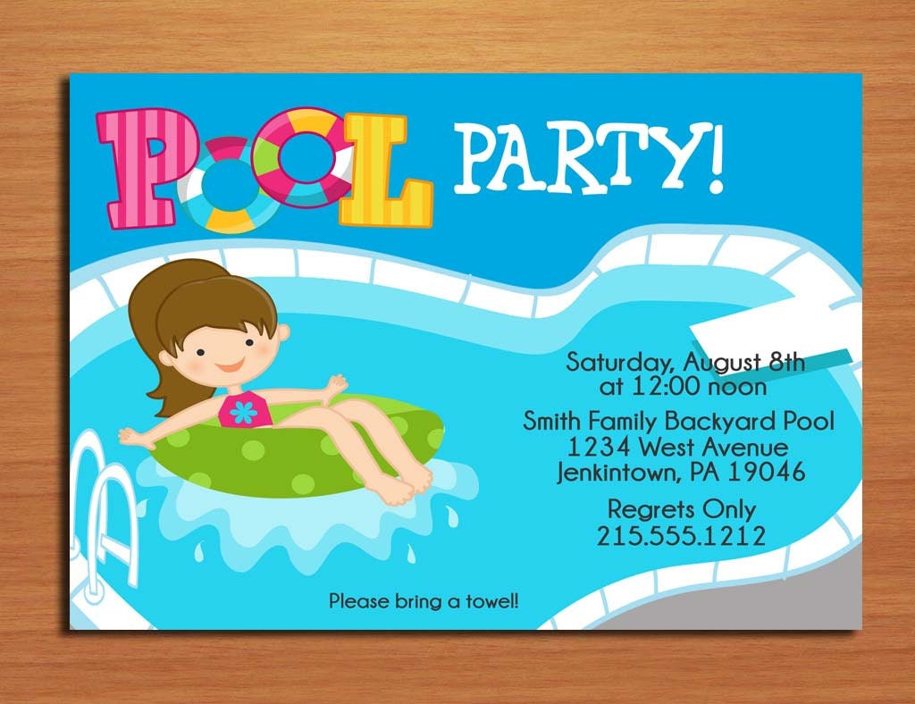 Girl Pool Party Invitation Cards PRINTABLE DIY – Create Party Invitations