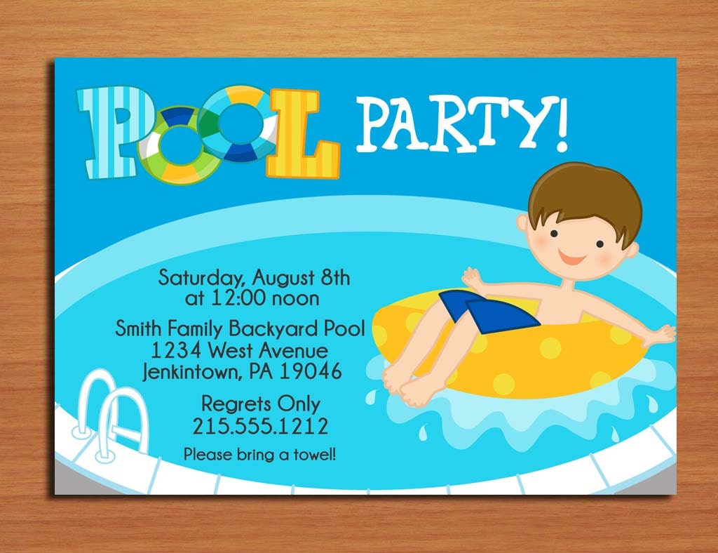 Boy Pool Party Invitation Cards PRINTABLE DIY – Birthday Pool Party Invitation
