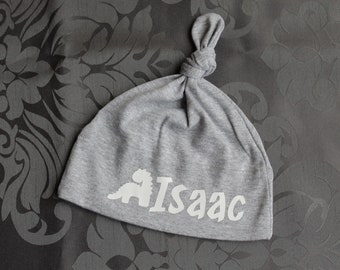 Personalized infant hat with baby's name, you choose the graphic - grey mix