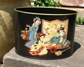 SALE Vintage 50s 60s / Asian / Oriental / Japanese Motif / Hand Painted / Black Tin Canister / Small Oval Waste Basket / Letter Holder