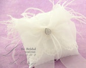 CUSTOM Wedding Ring pillow with beautiful lace , feather and cytstals,rhinestone