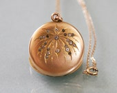 RESERVED FOR ANN / Antique Edwardian Gold Locket -:- Spray of Fireworks 1900s-1910s