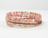 Pink Bracelet - Pink Stacking Bracelets - Rose Beaded Memory Wire Stackable Bangle Bracelets