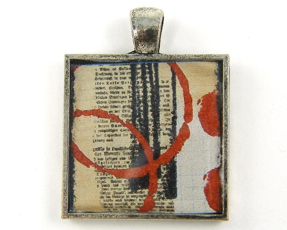 Collage Pendant - Abstract Art Black White Red Grunge Text Jewelry Charm