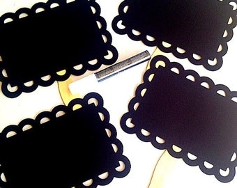 4 Scalloped Chalkboard Photo Props with Marker