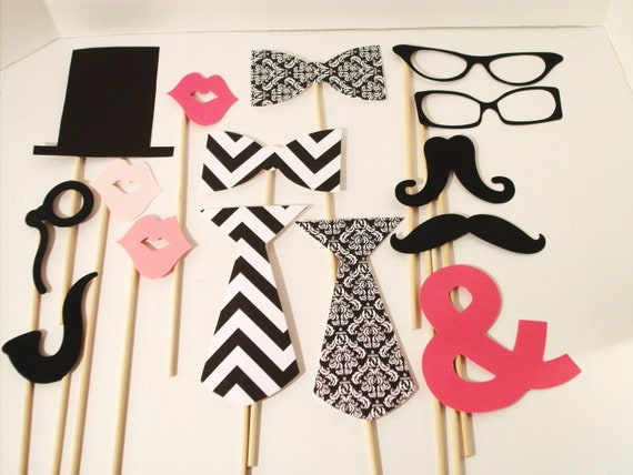 Chevron Wedding Photo Booth Props - Damask Photo Props - Ampersand 15 Piece Black and White Photo Prop Set