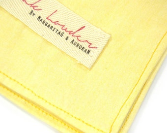 Wedding Mens Pocket Square Yellow Cotton Chambray