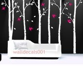 Tree Wall Decals wall Stickers wall decor,tree,decal livingroom,bedroom,art - birds in birch forest - 6 100in birch trees