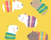 Guinea Pig Digital Clip Art Clipart Set - Personal and Commercial Use