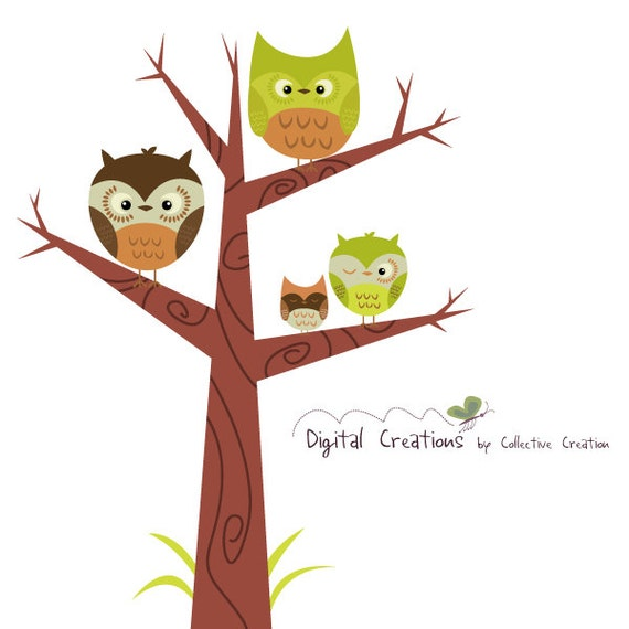 owl tree digital clipart clip art set by collectivecreation Spider Clip Art Baby Owl Clip Art